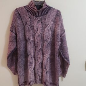 Cable Knit Sweater, 525, Purple, Sz M/L